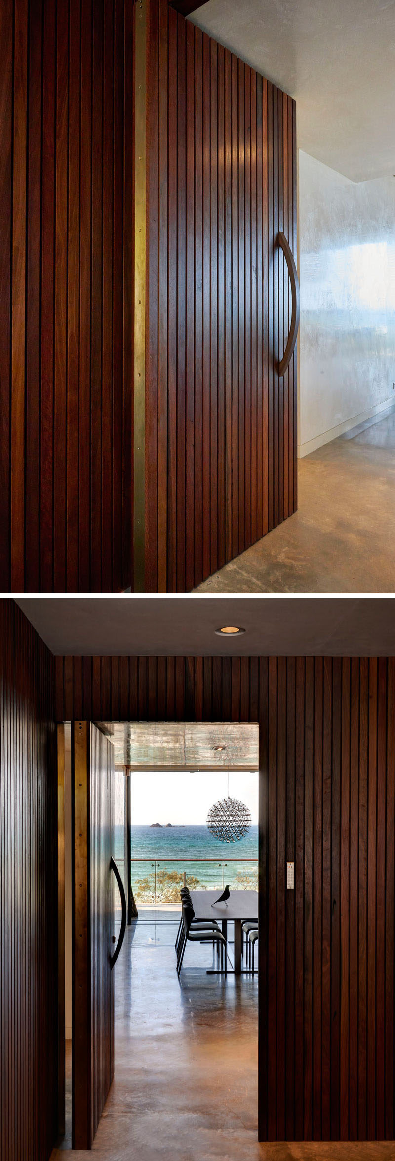A large wooden door with vertical slats welcomes you to this Australian home.