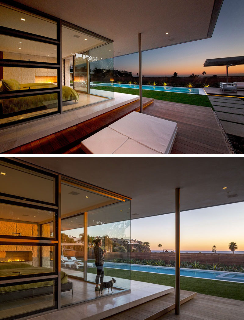 This master suite surrounded by glass is high enough to have a view over the swimming pool and of the ocean.