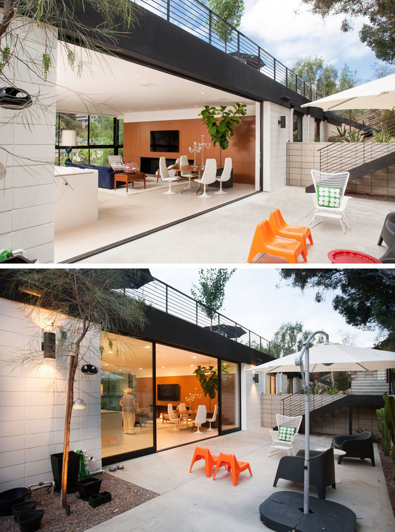 This Californian home has space for an outdoor area with a sun umbrella and relaxing seating.