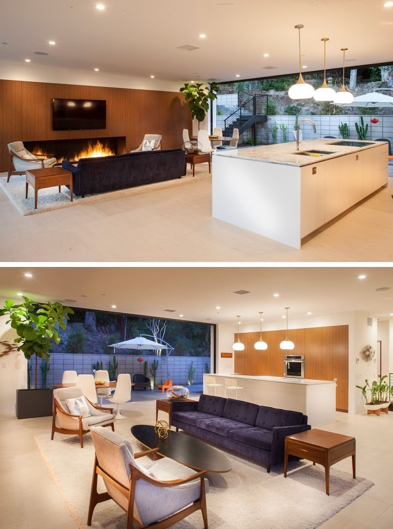 In this home, the kitchen, dining and living areas share the same space, that opens up to an outdoor space.