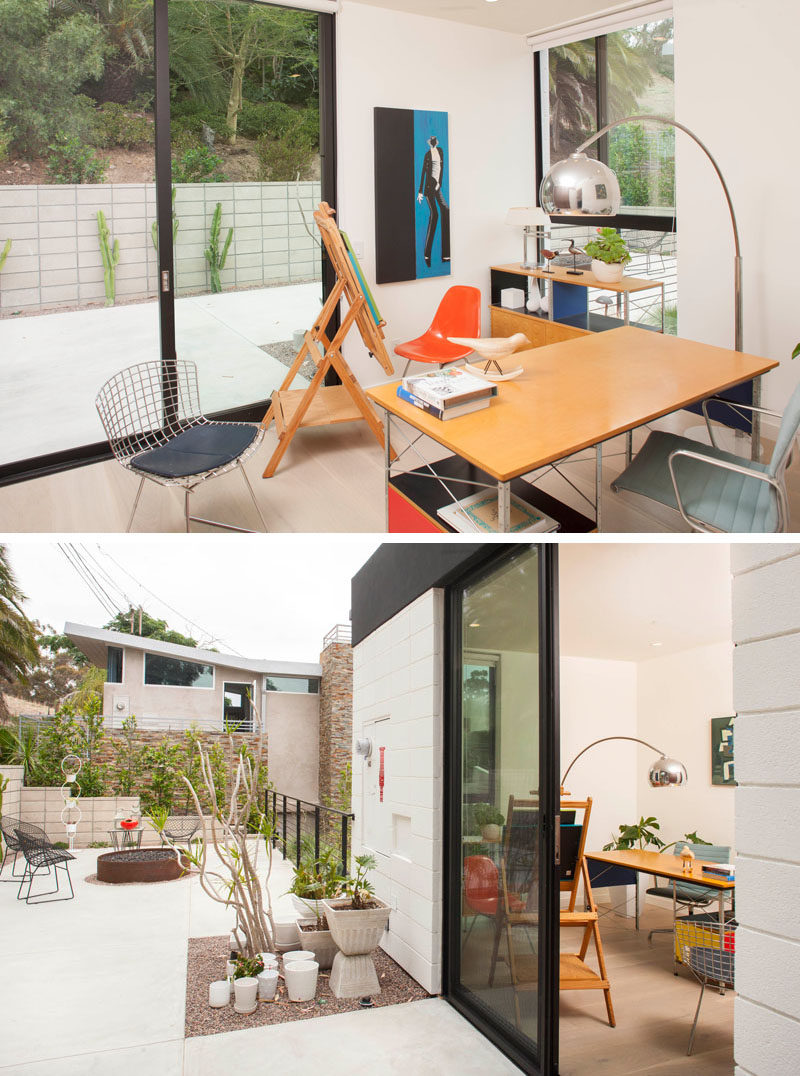 This home office has direct access to outdoor space.