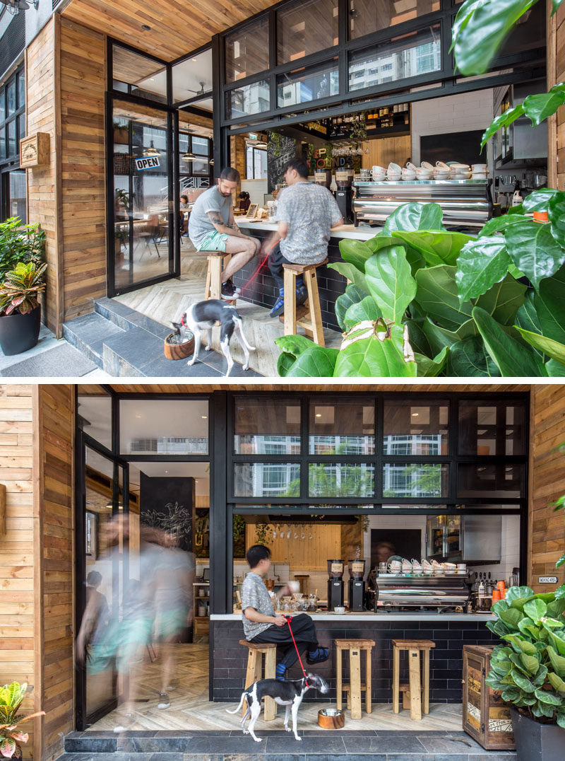 The entrance of this cafe has been pushed back almost 4 feet (1.2m), to allow for an outdoor coffee bar and to give it an al-fresco atmosphere.