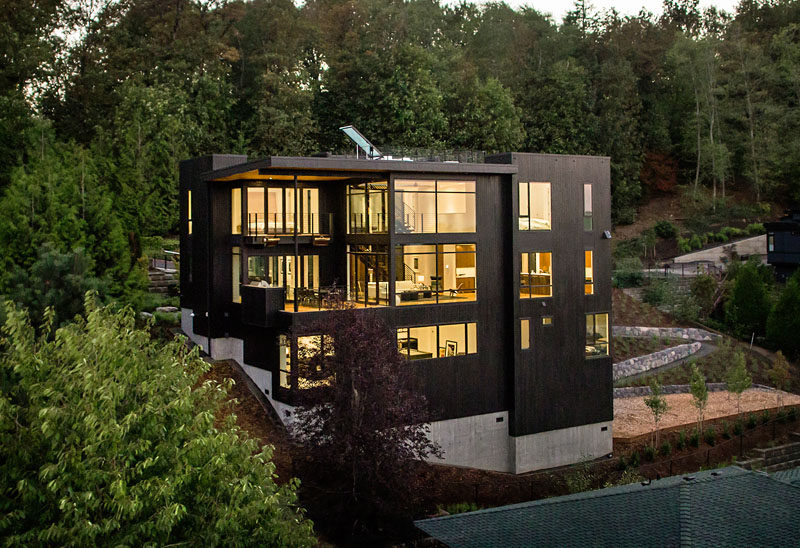 This new house was designed for life on a steep hillside property in Portland
