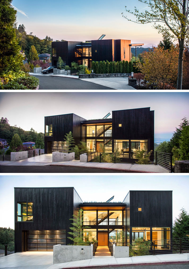 This new house was designed for life on a steep hillside for Contemporary hillside house plans