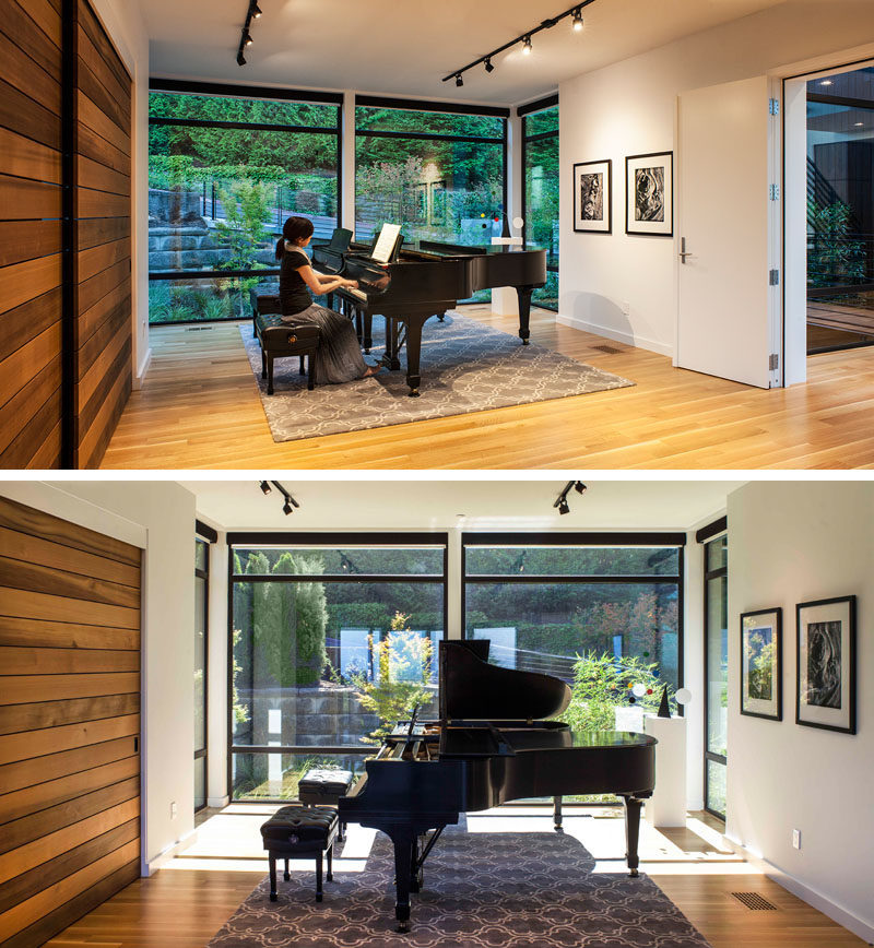 This house in Portland, Oregon, has a piano studio where the wife's students come for lessons. The studio also opens onto the main living room and covered outdoor living area, perfect for hosting recitals and parties.