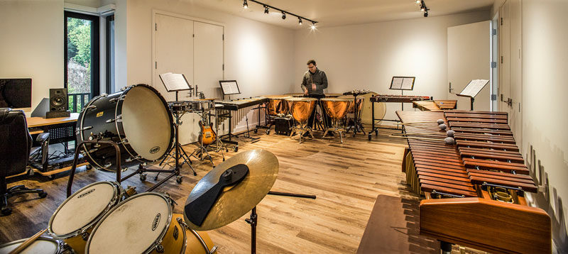 On the lowest level of this home and surrounded by concrete walls, is the timpani rehearsal room.