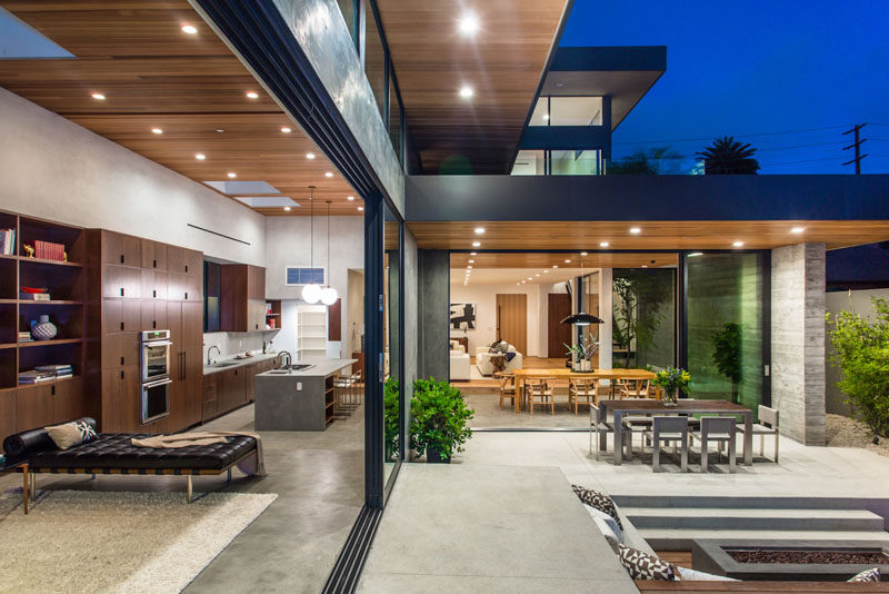 The interior of this home opens up to the backyard, creating a true indoor/outdoor living space.
