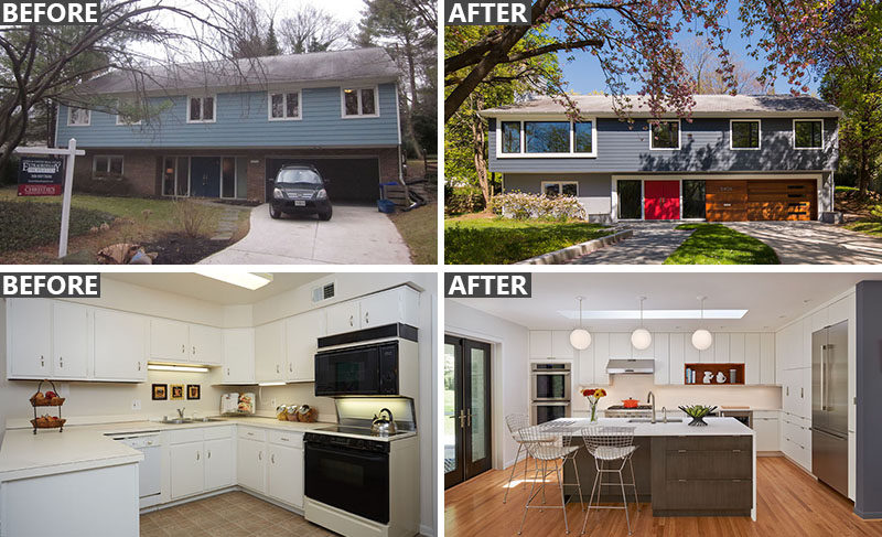 BEFORE & AFTER - The renovation of a family home dating back to 1968, and located in Chevy Chase, Maryland.