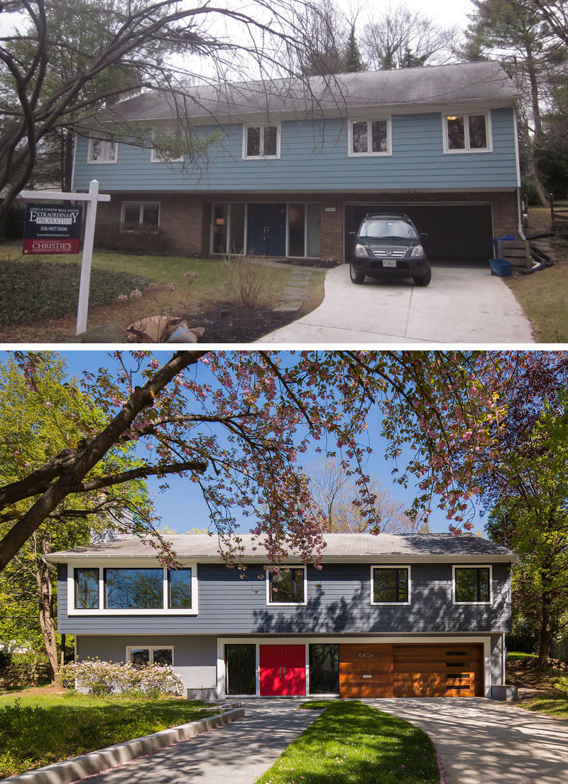 BEFORE & AFTER - This home's curb appeal was updated by installing a new entry door and sidelights. New windows were added, including an enlarged opening for the second-floor living room. The old walkway was replaced with a wider path that is separate from the driveway, and is accessible from the street instead of having to come up the driveway.