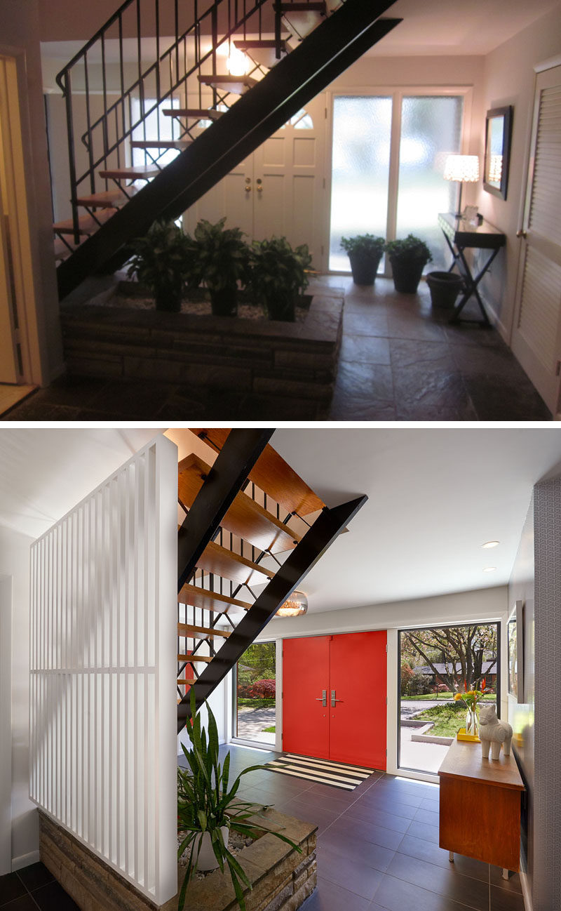 BEFORE & AFTER - The designers left the staircase and fieldstone planter in their original condition, but added a painted wood screen to separate the stairs from the lower-level. Pushing out the entry door gave the foyer a bit more space, and new porcelain tile flooring updated the look.
