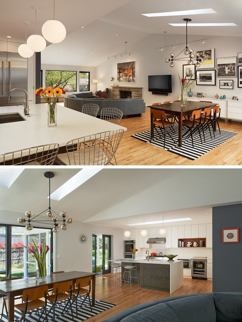 Walls were removed from this home to create an open floor plan with the kitchen, dining and lounge all sharing the same space. Skylights were added to keep the space bright.