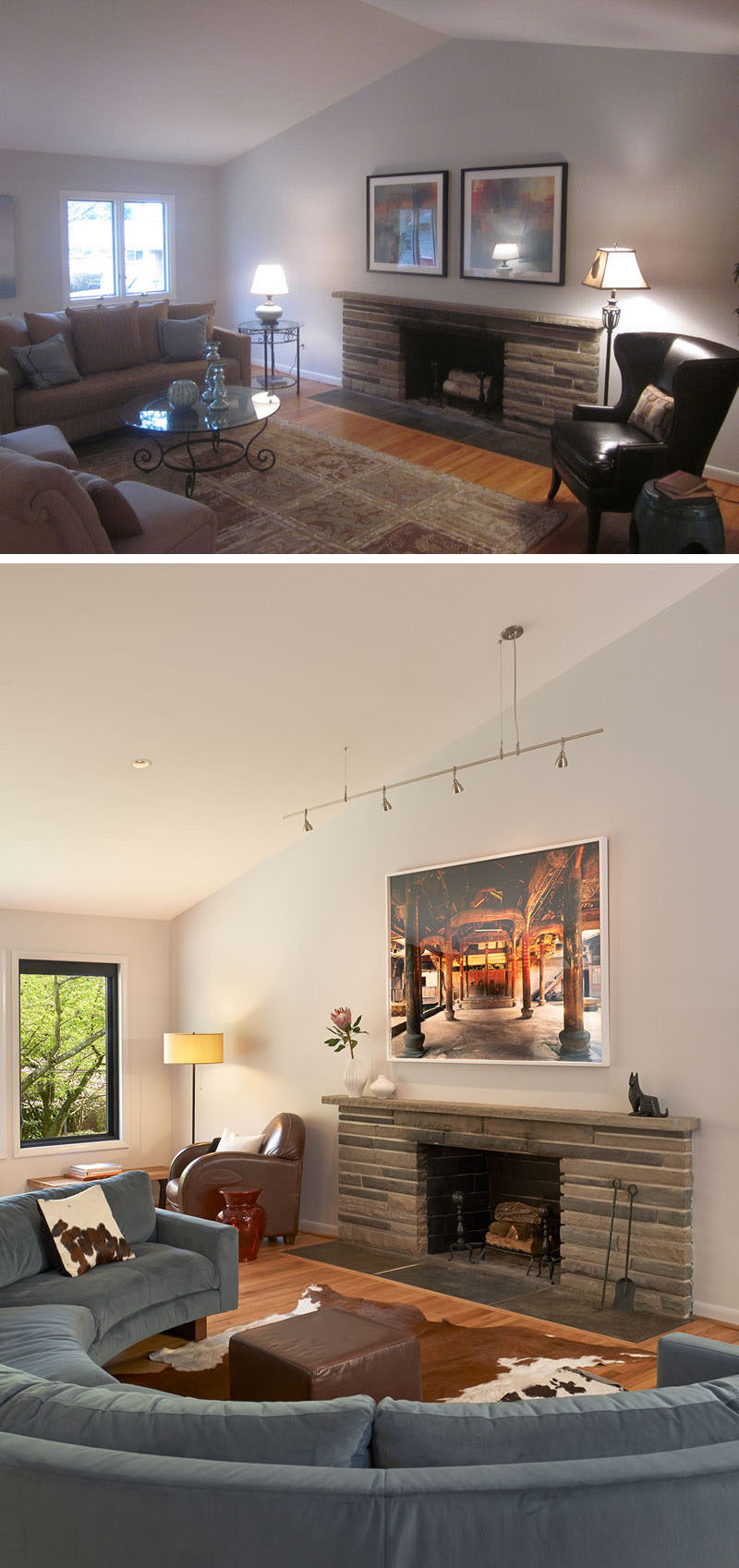 BEFORE & AFTER - In this living room, a rounded blue sectional with a small leather ottoman and cowhide rug offer a cozy spot to sit by the fireplace. In the corner, a brown leather armchair provides a great reading nook.