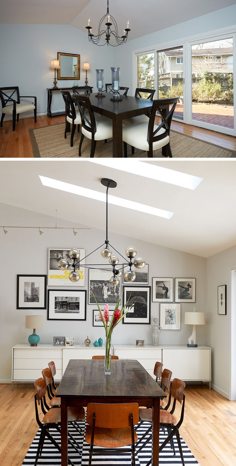 BEFORE & AFTER - In this updated dining room, a black and white striped rug grounds the wood dining table and chairs in this mid-century style dining room. A long, white buffet provides essential storage for dinnerware, utensils and anything you might need for entertaining, and a large picture wall perfectly displays various photographs.