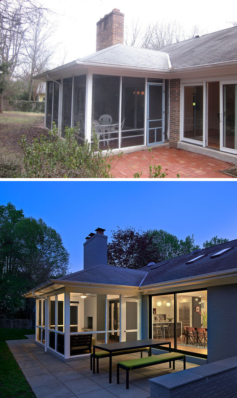 BEFORE & AFTER - Outside and at the rear of this home is an updated screened-in porch and small patio. A dining table with benches create a place to dine outdoors.