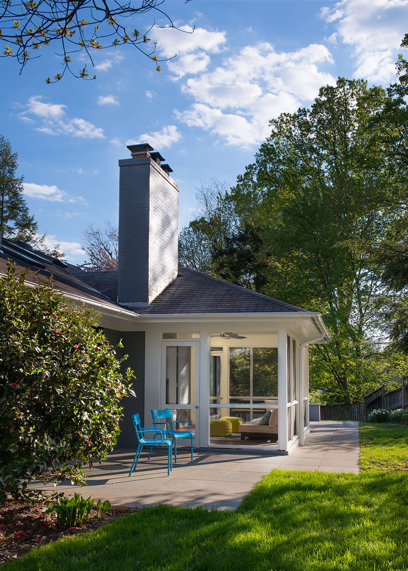 This updated home has a screened-in porch and a patio area perfectly for relaxing.