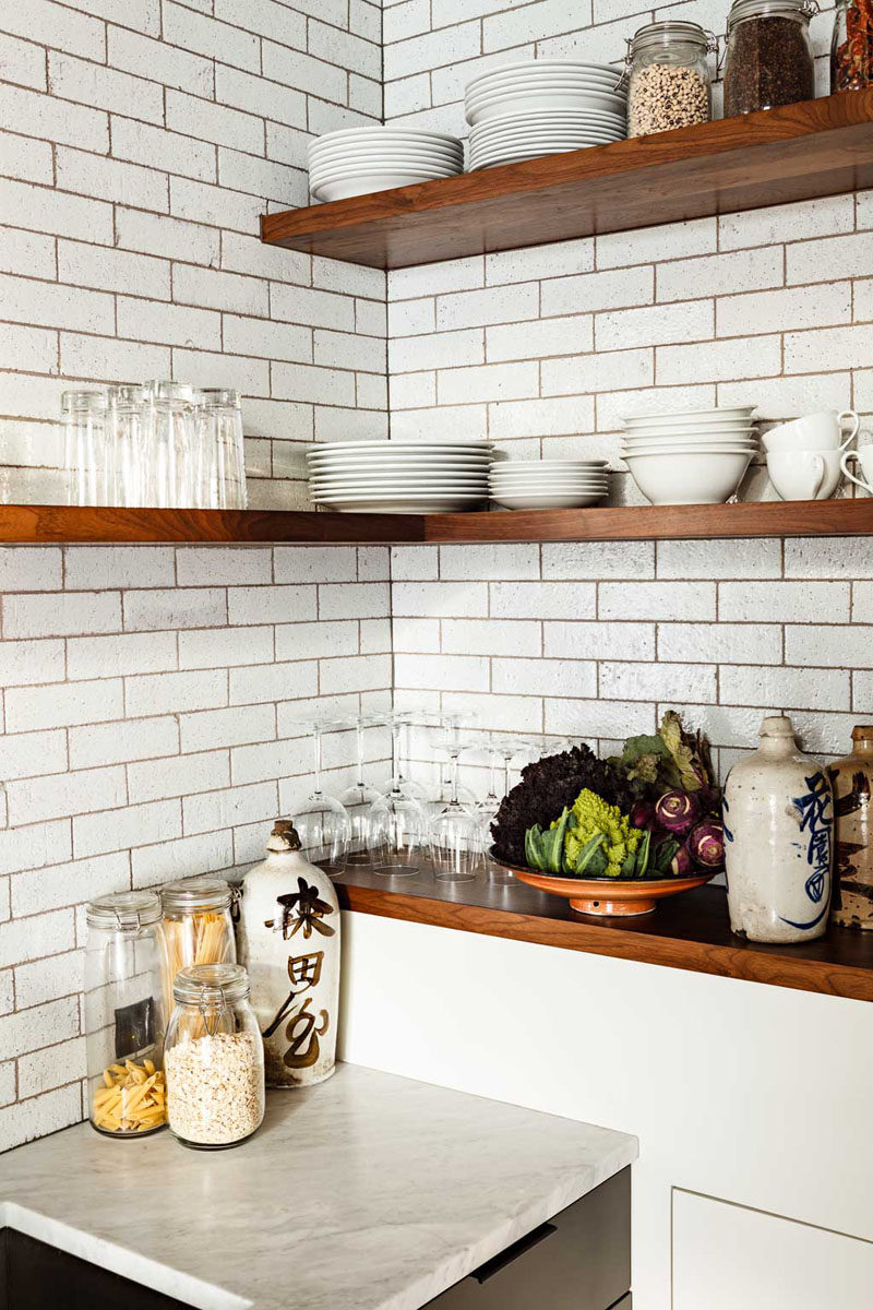 6 Design Ideas For Adding Corner Shelves To Your Home // Mix & Match --- Not all the shelves need to tuck into the corner. Having some end at the wall and others continuing to wrap gives you extra storage and makes for a more unique display.
