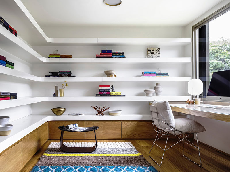When installing shelves that fit into the corner, you might want to consider having custom shelves designed to fit your space perfectly. This also gives you the opportunity to have the corners rounded for a softer look in your space.