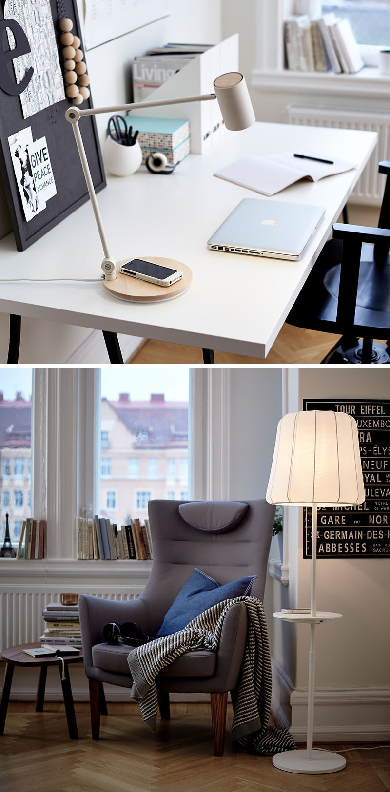 DORM ROOM Design Ideas And Must-Have Essentials // Wireless charging lamps are idea for dorm rooms.