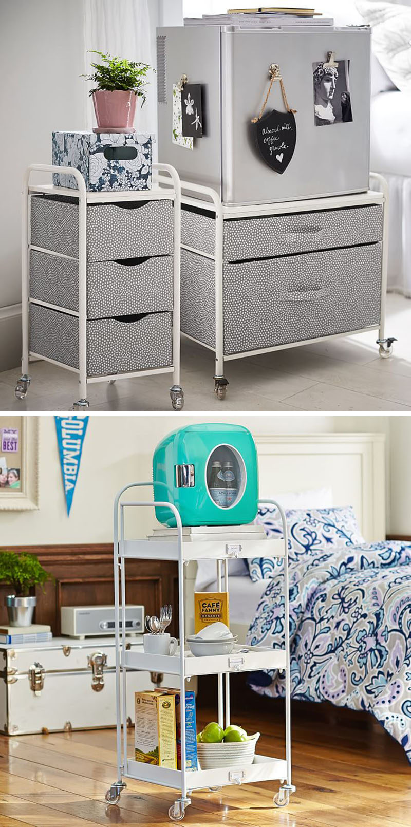 DORM ROOM Design Ideas And Must-Have Essentials // A mini fridge is a must for all those veggies, water bottles and milk you'll want to keep cool...especially if cereal is a must-have.