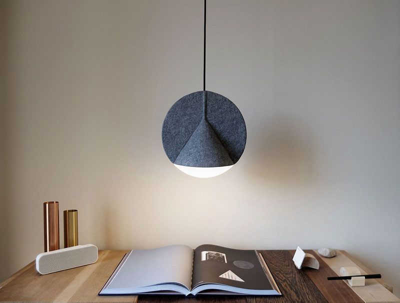 This pressed felt lamp combines two geometric shapes into one single volume