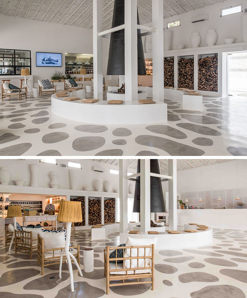 FLOORING IDEA - The concrete flooring in this hotel was painted using a stencil, creating a look that resembles stones embedded into the floor.