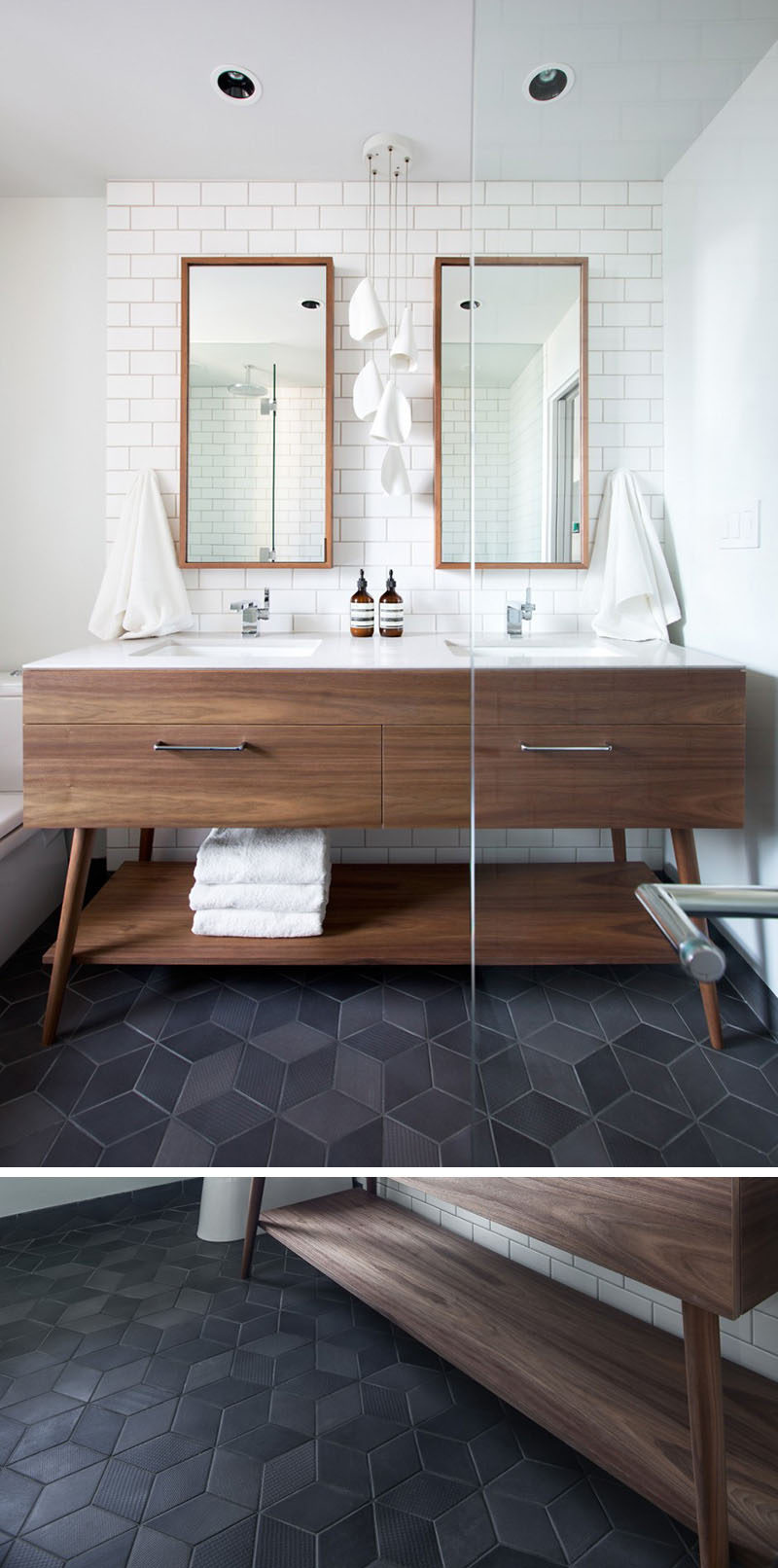 8 Examples Of Tile Flooring With Geometric Patterns // Dark textured diamond tiles make up the floor of the bathroom in this Vancouver apartment.