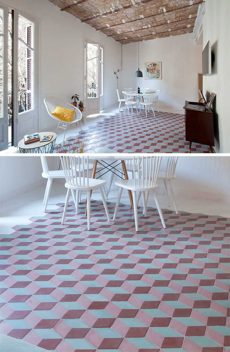 8 Examples Of Tile Flooring With Geometric Patterns // Bold, brightly colored tiles make up this geometric pattern, that could play tricks on your eyes if you stare at it long enough.