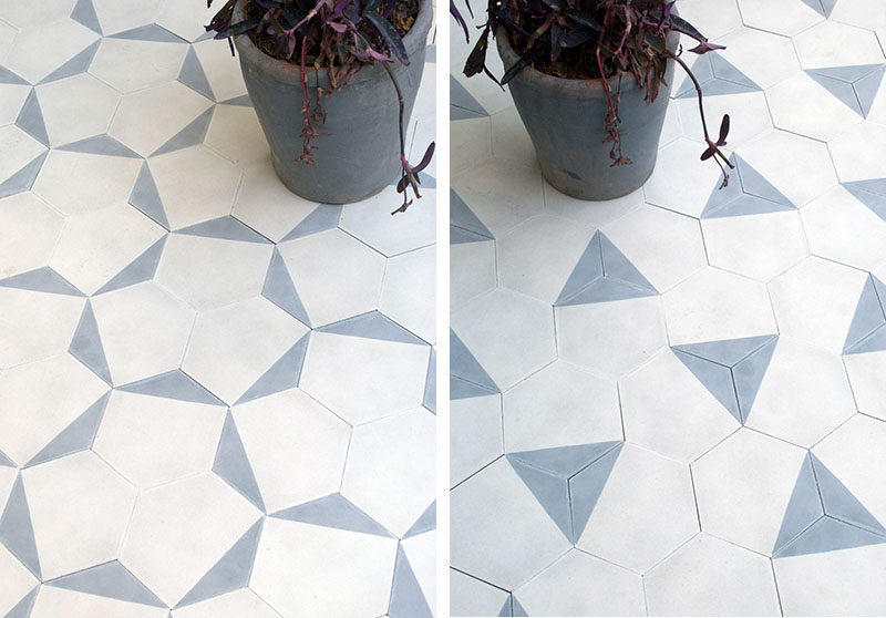 8 Examples Of Tile Flooring With Geometric Patterns // One of the corners of these hexagon tiles has been painted on every tile which allows you to create a wide variety of patterns on the floor.