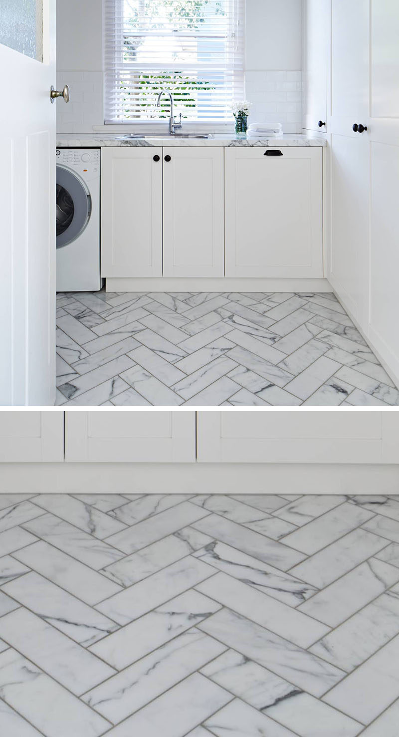 8 Examples Of Tile Flooring With Geometric Patterns // Creating a herringbone pattern with rectangular tiles is an easy way to bring in geometric tiles and a ton of style.
