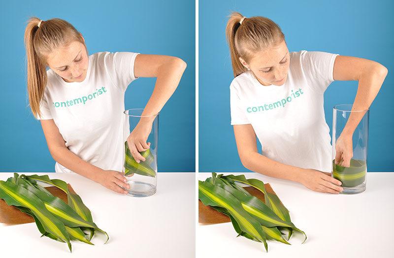 Flower Arrangement Diy Line Your Vase With Leaves To