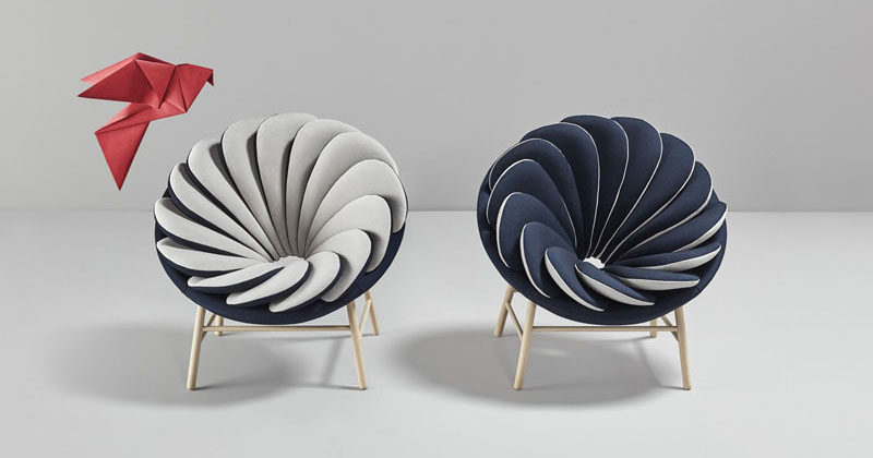Quetzal, a chair with 14 overlapped bicolor pillows. Designed by Marc Venot for Missana.