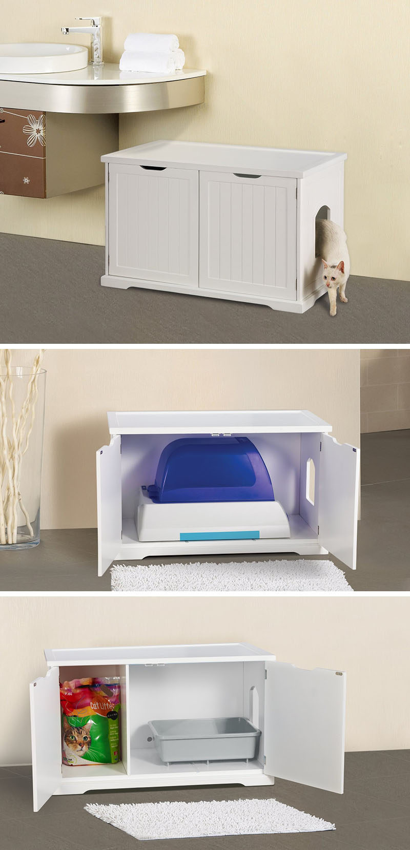 10 Ideas For Hiding Your Cats Litter Box // This bench can either have a divider in it or be completely open, making it good for both small litter trays or larger litter boxes.