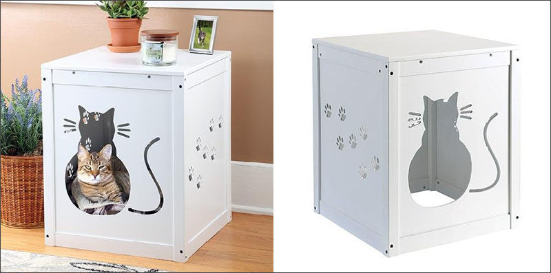 10 Ideas For Hiding Your Cats Litter Box // With a kitty cut-out on the front for easy access and paw print cut-outs on the sides for ventilation, this litter box cover gives your cat a nice place to take care of business, and gives you a cute side table.