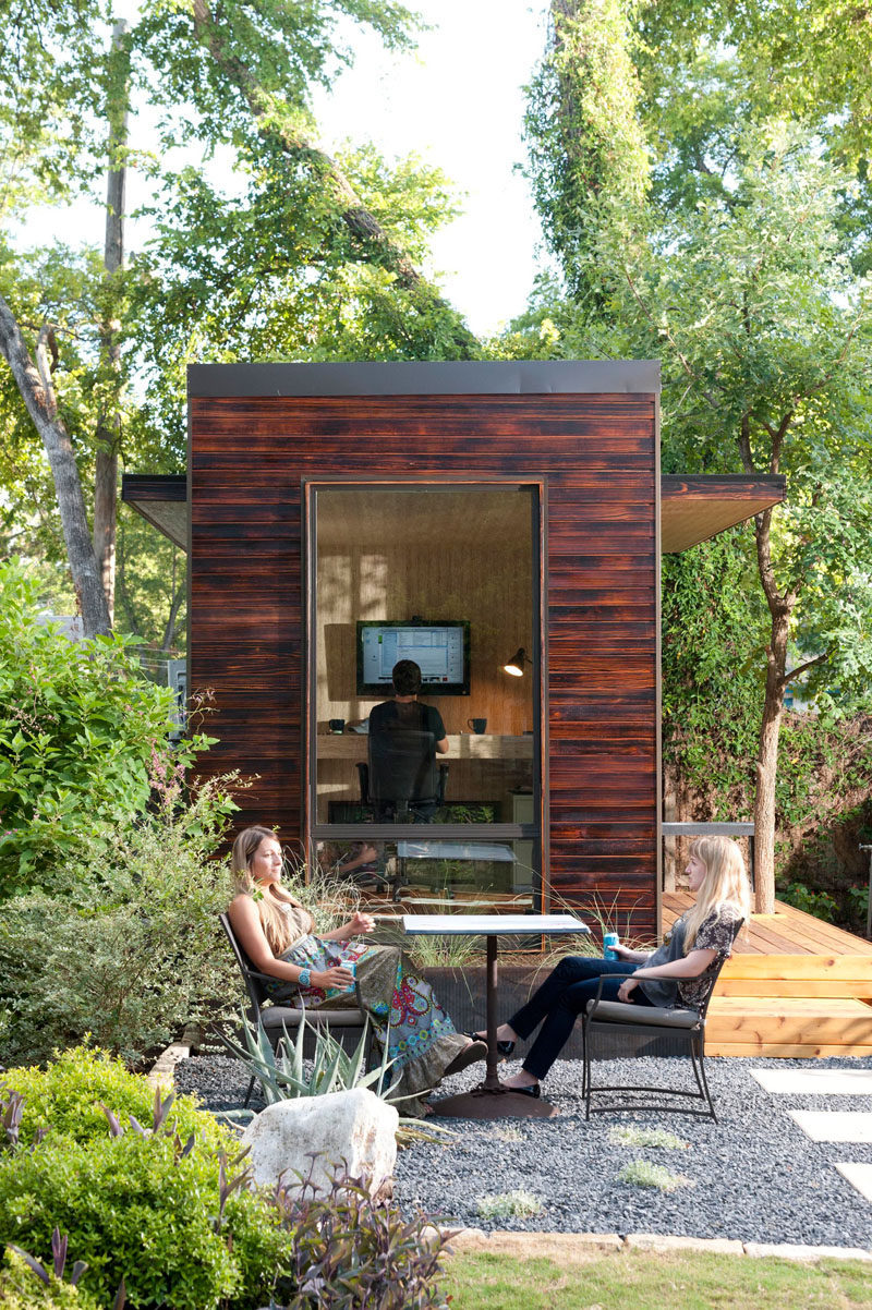 This 92 square foot backyard office covered in charred wood siding.