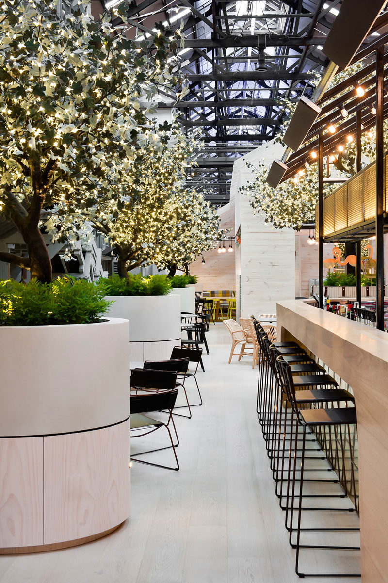 A glimpse of the interior of the Ovolo Hotel in Sydney, Australia, that was once an old wharf building.