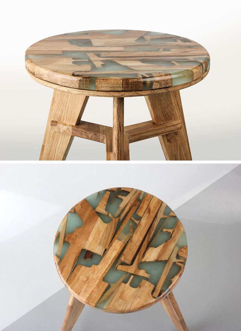 These stools are made using offcuts of wood mixed with resin.