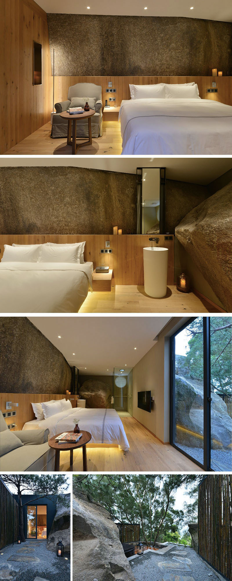 In this hotel room, a large rock wall has been left to create a feature wall, and in the bathroom, a large boulder has been left in the space. Outside, there's a small path that leads to a deck and private spa.