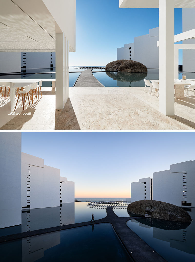 Surrounded entirely by water, made from thin strips of wood and seeming to float right on its surface is Restaurant Nido; one of the three world class restaurants at Mar Adentro Hotel, a five-star hotel designed by Miguel Ángel Aragonés in San José del Cabo, Mexico.