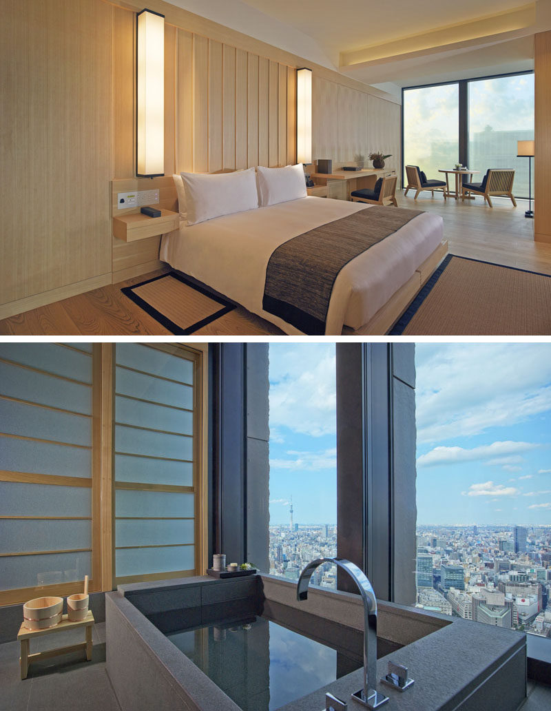 In keeping with Japanese interior design, these hotel suites have minimal accessories so as not to distract from the view.