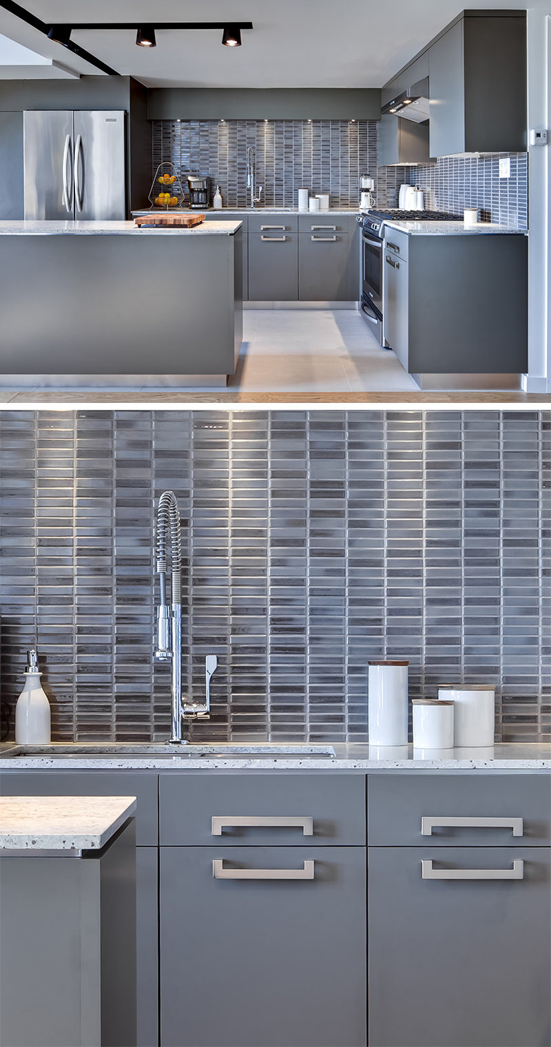9 Inspirational Pictures Of Kitchens With Geometric Tiles // Rectangular tiles of varying shades of blue-grey compliment the colors used throughout this kitchen.