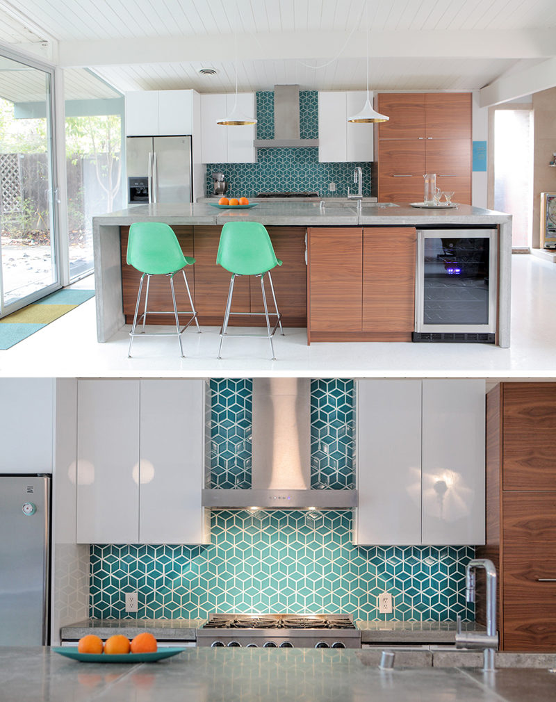 9 Inspirational Pictures Of Kitchens With Geometric Tiles // Blue diamond tiles with white grout make the kitchen of this home lively and fun.