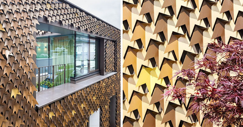 A Creative House Siding Idea ? Leaf Inspired Metal Shingles
