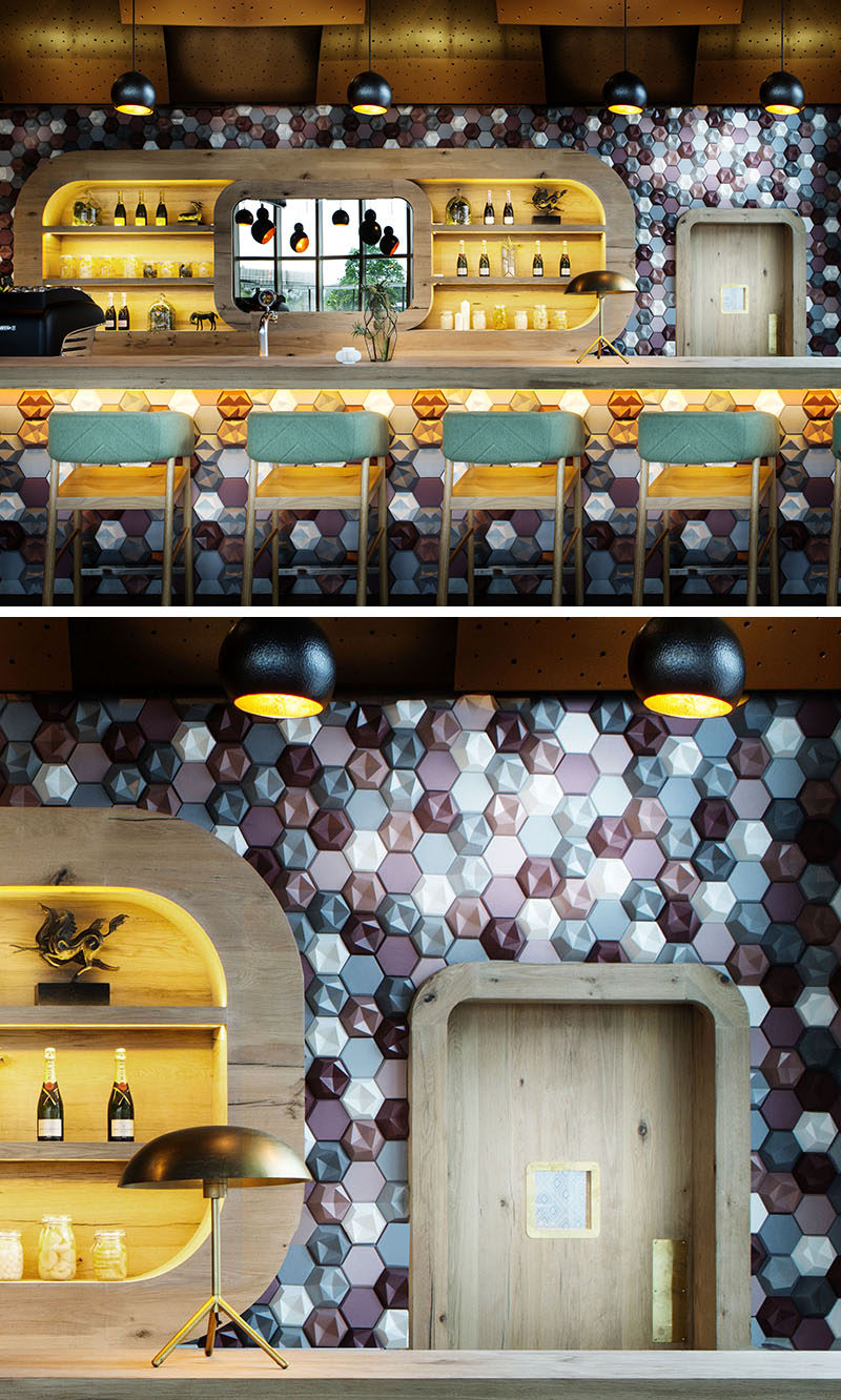 Wall Decor Idea - This Café Covered Their Walls With 3D Concrete Tiles