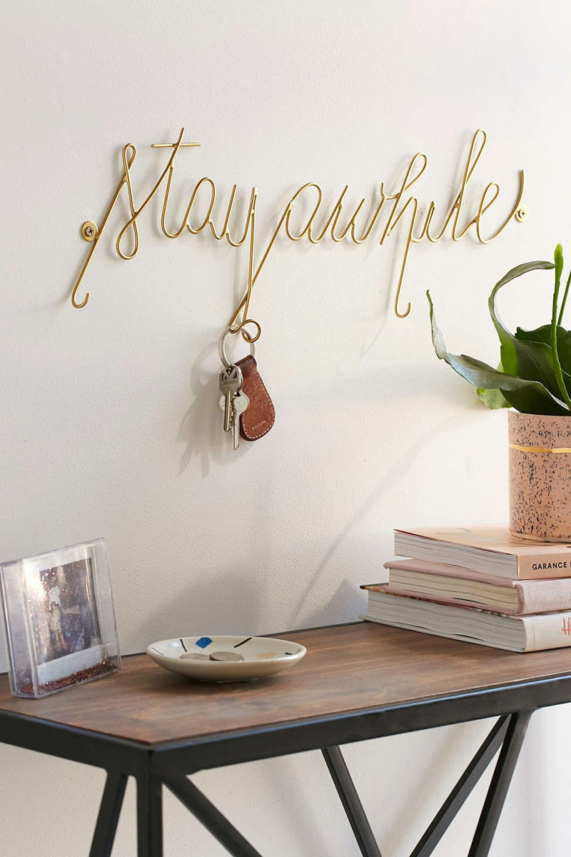 16 Key Holders To Keep You Organized // Encourage your guests to stay awhile and give them a place to hang their keys while they're visiting with this unique key holder.