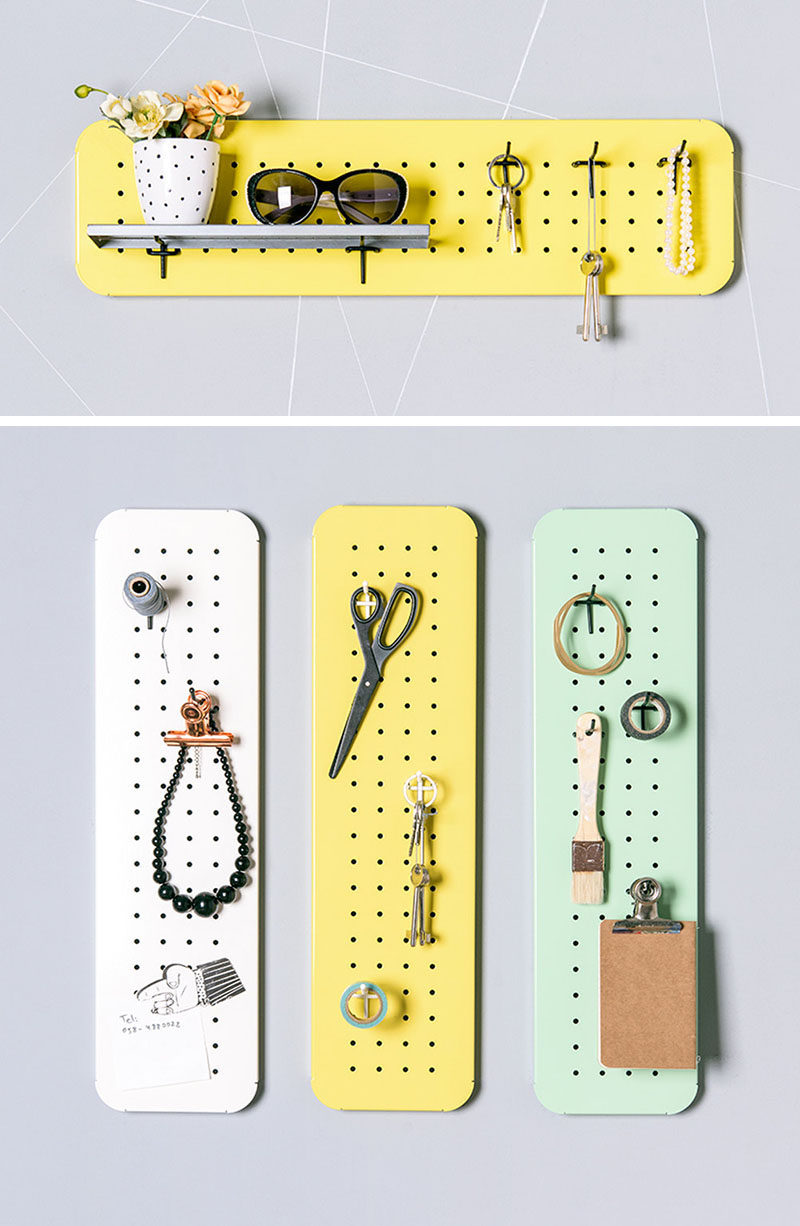 16 Key Holders To Keep You Organized // Configure your very own key holder using small pegboards.