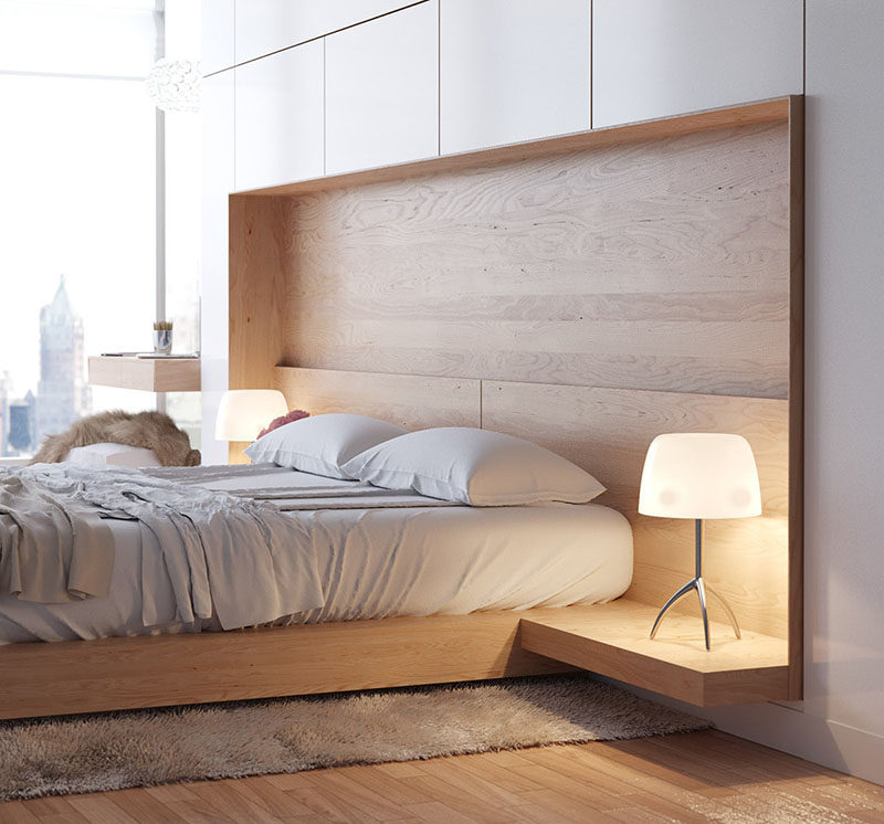 9 Different Ideas For Adding A Nightstand To Your Bedroom // Built right into the bed --- The headboard, bed frame and nightstand are all built into a single piece of furniture in this bedroom.