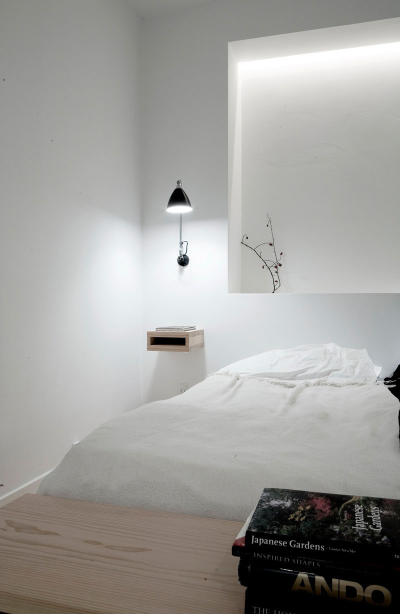 9 Different Ideas For Adding A Nightstand To Your Bedroom // Floating --- Add a futuristic flair to your bedroom with nightstand that seem to float right next to your bed.
