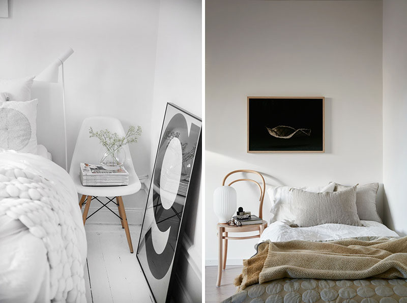 9 Different Ideas For Adding A Nightstand To Your Bedroom // Use A Chair As A Table --- It's a chair! It's a table! It's... both? This chair has a drawer in the front of it making it the perfect place to store things you like to have next to you at night but keeps them out of plain sight.