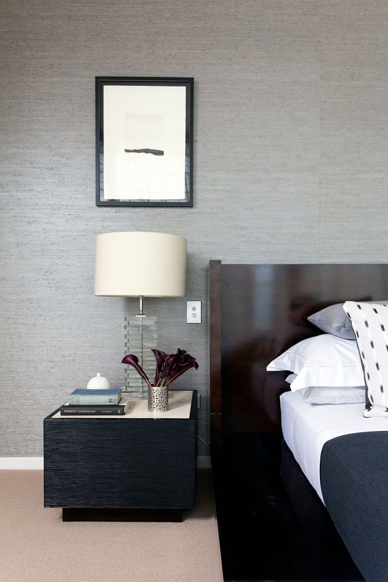 9 Different Ideas For Adding A Nightstand To Your Bedroom // A Common Option -- If the other ideas seem a bit too far out or extreme you can always stick with what's common - a nightstand with a flat surface and maybe even a drawer or two.