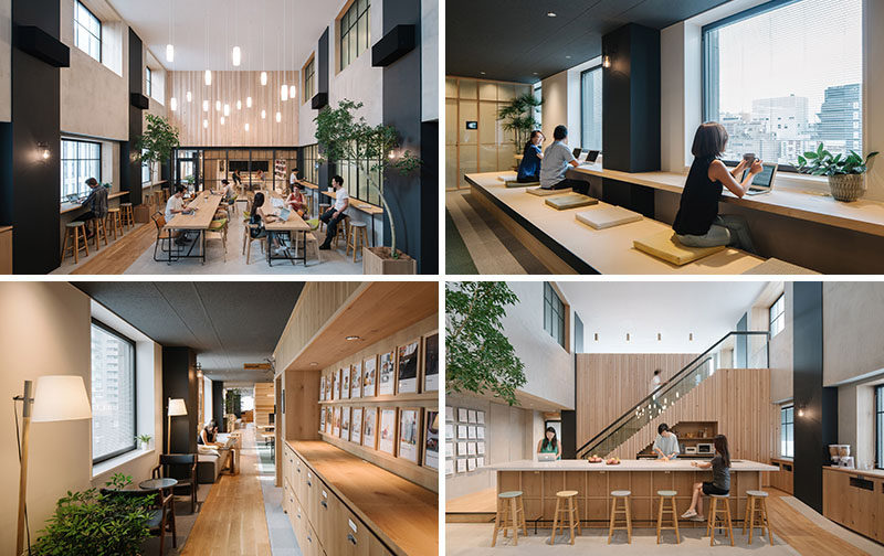 Looking more like a home than a workplace, are the new Tokyo offices designed for Airbnb by Suppose Design Office.